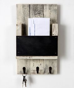 Look at this Whitewash Chalkboard Mail Slot Wall Hook on #zulily today!