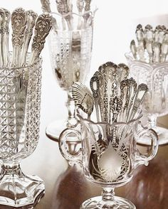 Don't forget your silver when undertaking spring cleaning! Get expert tips for polishing your prized sterling to a lustrous shine with our… Vintage Silver, Antique Silver, Antique Glass, Objets Antiques, Victoria Magazine, Silver Spoons, Silver Trays, Silver Cutlery, Vintage Cutlery