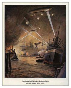 Zeppelins bombing London in First World War Cleopatra's Needle, Ww1 Art, Vintage Dance, Flanders Field, Night Terror, Dance Music, Zeppelin, Wwi, First World
