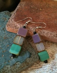 Lavender Teal Clear Rectangle Square Glass by GrecoGirlJewelry