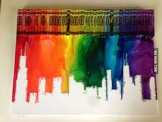 Melting crayon painting creates the Chicago Skyline! I want this to hang in my house one day! Crayon Painting, Crayon Art, Painting Art, Cool Diy Projects, Art Projects, Chicago Skyline, Chicago Chicago, Chicago Bears, Melting Crayons
