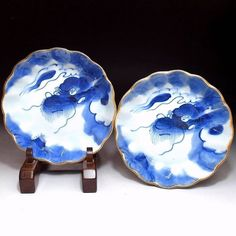 """Antique Japanese Sometsuke 伊万里  Imari 伊万里 Dragon Bowls for the A-Z of Japanese Wares in our store, """"A is for Arita"""" or old Imari ware"""