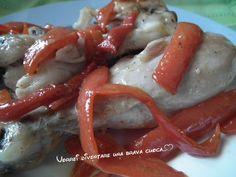 Fusi di pollo con i peperoni