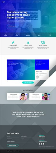 Zoggl is clean and modern design #PSD template for professional #marketing, #startup agencies website download now..
