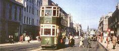 Aberdeen trams on Union Street 1950s.