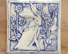 Rabbit with flowers porcelain tile for wall hanging or installation inch Pottery Sculpture, Pottery Art, Tile Art, Mosaic Tiles, Hare Pictures, Art Nouveau Tiles, Rustic Bathroom Designs, Rabbit Art, Bunny Art