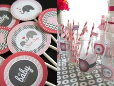 Elephant Baby Shower | Baby Girl Shower Ideas - Cupcake Toppers and Bottle Wrappers - Baby Animal Theme