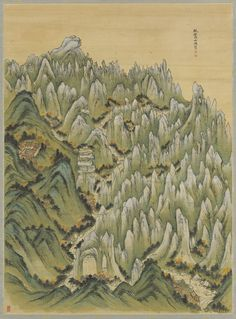 'Panoramic View of Inner Pungak' by Jeong Seon. This painting draws a scenic view of Geumgansan Mountain. (courtesy of Kansong Art and Culture Foundation)