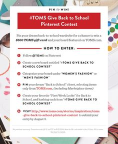 383693fdb7a43 50 Delightful  TOMS Give Back to School Contest images