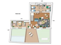 Floor plan, Plan, Land lot, Room, Artwork, Drawing, Cottage Living Rooms, Mediterranean Style, Ideas Para, Architecture Design, How To Plan, Plan Plan, Family Room, Floor Plans, House
