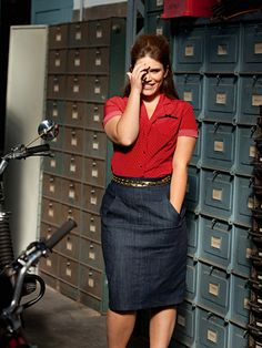 Office wear in denim pencil skirt and red shirt. #curvy fashion #plus size