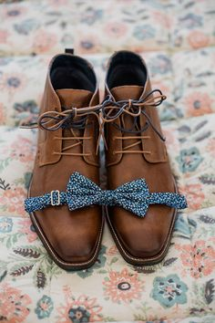 Groom shoe and bow tie shot | Bless Photography | See more: http://theweddingplaybook.com/joyful-and-bright-garden-wedding/