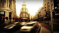 Gran Via at the sunset - Madrid, Spain