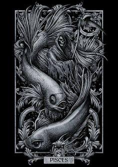 Signs of Zodiac Pisces Dark Fantasy Art, Dark Art, Zodiac Art, Zodiac Signs, Psy Art, Arte Obscura, Gothic Art, Horror Art, Skull Art