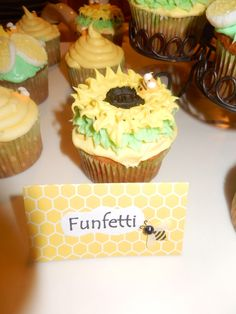 What Will it Bee? Gender Reveal Party. Funfetti sunflower cupcakes made with Oreos.