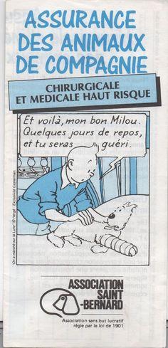 Assurance des animaux de compagnie - Dépliant publicitaire Tintin