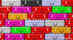 Colorful travel suitcases pile background