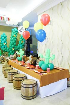 Dining Table from a Little Cowboy Birthday Party via Kara's Party Ideas | KarasPartyIdeas.com (8)