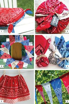 of July banner - diy-bandanna-ideas - Love these! Definitely going to do a couple of these and find some creative uses for bandanas to add some country color to the party decor! Sewing Crafts, Sewing Projects, Craft Projects, Diy Crafts, Bandana Crafts, Bandana Ideas, Diy Love, Cowgirl Party, Cowgirl Birthday