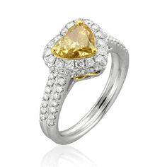 @Yael Designs yellow diamond heart-shaped engagement ring picked by @Brides