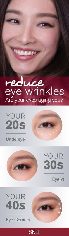 The 3 critical points of the eye -- the undereye, eye lid, and eye corners -- hold the key to a younger looking face!  Don't let your eyes age your youthful skin. Reduce your eye wrinkles with SK-II Essential Power Eye Cream. This cocktail of potent ingredients firms up the three points around the eye by addressing firmness, elasticity and sagging.  http://www.sk-ii.com/luxury-skin-care-tips/areYourEyesAgingYou.html?cm_mmc=Pinterest-_-Epop2016-_-Campaign-_-PowerEyeCream