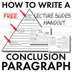 Three-Step Essay Conclusion Paragraph Format These mini-lecture slides were designed to help middle school and high school students learn to write strong conclusion paragraphs for literary analysis, argument, and research essays. This product includes PDF slides that can be projected as you lead a short lecture on a simple three-step formula to create a smooth, powerful conclusion to an essay.