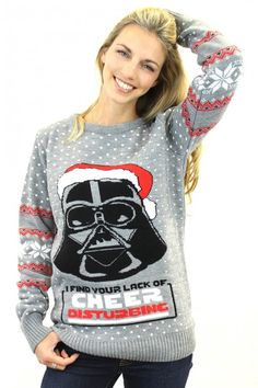 Prepare to see the fun side of the Sith Lord with this OFFICIAL Star Wars Darth Vader Christmas Jumper Xmas Jumpers, Knitted Christmas Jumpers, Christmas Knitting, Christmas Sweaters, Darth Vader Christmas, Star Wars Christmas, Star Wars Merchandise, Ugly Sweater Party, Geek Fashion