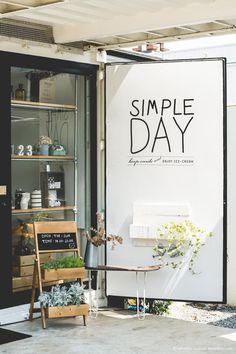 Simple day signage on internal shutter cafe цветочный магази Cafe Interior, Shop Interior Design, Cafe Design, Retail Design, Store Design, Design Design, Graphic Design, Restaurant Bar, Restaurant Design