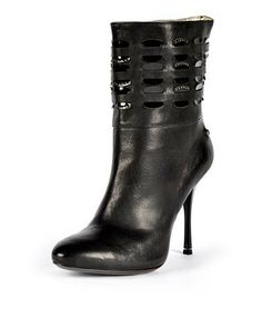 Just Cavalli Leather Rhinestone Embellished Booties - Booties - Shoes at Viomart.com