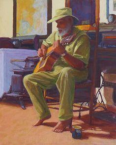 "Guitar Man by Marsha Savage Pastel ~ 20"" x 16"""