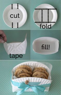 DIY Cookie Basket Made From A Paper Plate