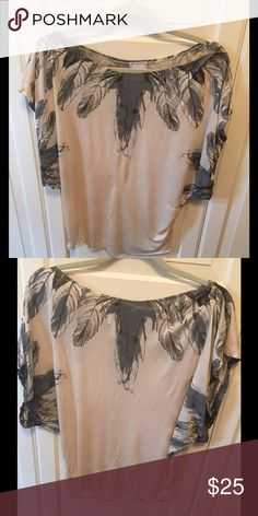 Anthropologie Top Anthropologie dolman sleeved top; Short sleeves; Boat neck collar; Soft cream colored fabric with grey and black feather designs. Anthropologie Tops Tees - Short Sleeve