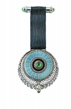 Chatelaine watch in blue-grey enamel 1910 - Joseph Chaumet, Platinum, diamonds, emeralds & enamel.