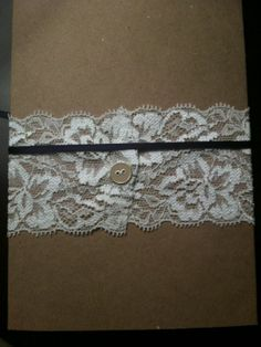 Our DIY Lace Wedding Invitations :  wedding belly band button cartoon diy eggplant inspiration invitations lace plum purple Button