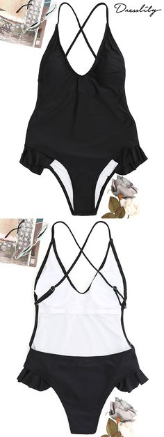 Ruffle Crisscross One-piece Swimsuit One Piece Swimwear, One Piece Swimsuit, Bikinis Online, Modest Swimsuits, Bra Styles, Bathing Suits, Swimming Suits, Fashion Outfits, Free Shipping