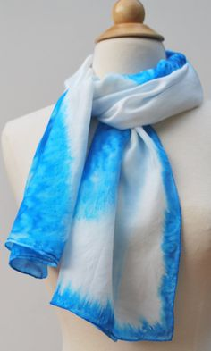 Blue and white hand painted silk scarf. OOAK. by Silksforalltimes, $50.00