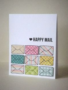 Happy Mail card, by Donna Mikasa  Stamp set here: http://www.purpleoniondesigns.com/LizTamanahaStamps.html
