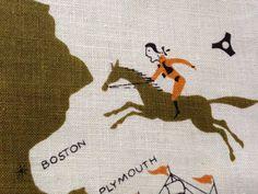 Vintage tammis keefe designer linen tea towel ~ retro mod kitchen chic ~ travel souvenir of the new england states.