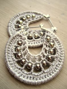 Crocheted hoops with beads by BohemianHooksJewelry on Etsy, $12.00