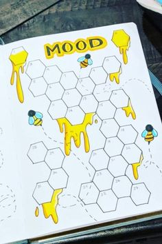 This honey bee mood tracker is toooo cute! Check out the rest of the examples for ideas next time your adding a page to your bullet journal! - 22 Adorable May Mood Tracker Page Examples - Crazy Laura Bullet Journal Tracker, Bullet Journal School, March Bullet Journal, Bullet Journal Headers, Bullet Journal Banner, Bullet Journal Cover Page, Bullet Journal Notebook, Journal Covers, Bullet Journal Inspiration