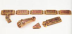 Anglo Saxon Clothing, Sutton Hoo, Sword Belt, Garnet And Gold, Celtic Designs, Dark Ages, Belt Buckles, Character Inspiration