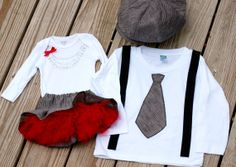 Brother Sister matching set - Christmas or Valentine's day outfits - newsboy hat, tie and suspender shirt, necklace onesie and tutu skirt