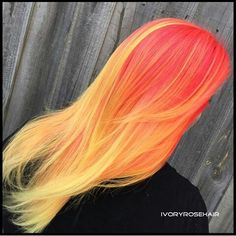 Red orange and yellow ombré hair