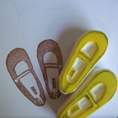 maryjane shoes  hand carved rubber stamp  girls by talktothesun, $8.00