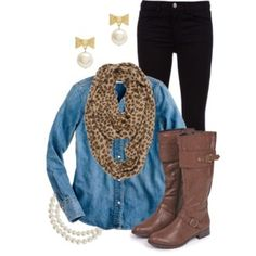 denim shirt with scarf   ... skinny jeans, leopard print scarf, brown boots and denim shirt outfit