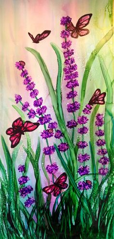 Lavender intoxication in alcohol ink by me, Laurie Henry. Copyright 2013