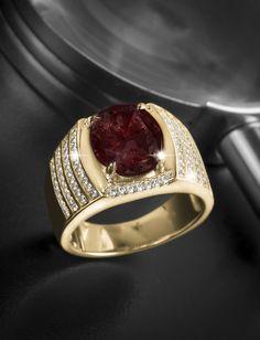 Mens Modern Italian 14K Red Gold Princess Rubies Channel Cluster Sun Wedding…
