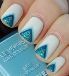 Tape manicure nail art design layered triangles in various blue shades on tips (myawesomebeauty blog)