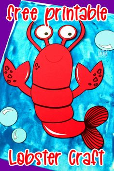 Teaching the letter L or exploring the ocean with your toddler or preschooler? Use this free printable lobster template and build your own cut and paste lobster friend! He is the perfect, easy, under the sea art project to do this summer with your kids. Sea Creatures Crafts, Sea Animal Crafts, Animal Crafts For Kids, Crafts For Kids To Make, Toddler Crafts, Preschool Activities, Lobster Crafts, Printable Crafts, Free Printable