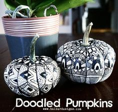 There's nothing quite so relaxing as taking a black marker to a pair of white pumpkins and going a bit wild. Have you decorated your pumpkins yet? Thanks for stopping by! Glitter Pumpkins, Mini Pumpkins, Painted Pumpkins, Halloween Pumpkins, White Pumpkins, Easy Halloween Crafts, Fall Crafts, Halloween Fun, Pumpkin Art